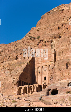 Boy riding camel at Al Mahkama Petra Jordan - Stock Photo