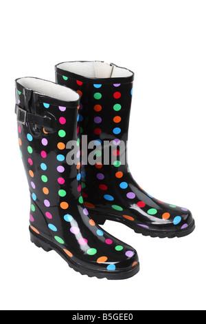 Polka Dot boots cutout on white background - Stock Photo