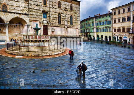 Central Square of Perugia, Umbria, Italy on a rainy day - Stock Photo