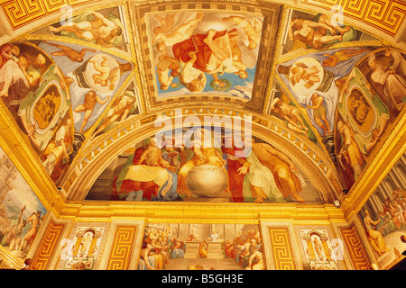 Spain - Madrid neighbourhood - El Escorial - Royal Monastery of San Lorenzo El Real - Library - frescoes -  the - Stock Photo