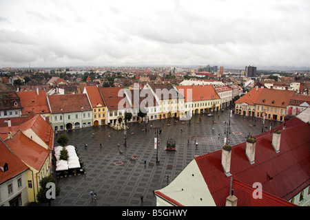 Panoramic view overlooking Piata Mare, Great Square, Sibiu, Transylvania, Romania - Stock Photo