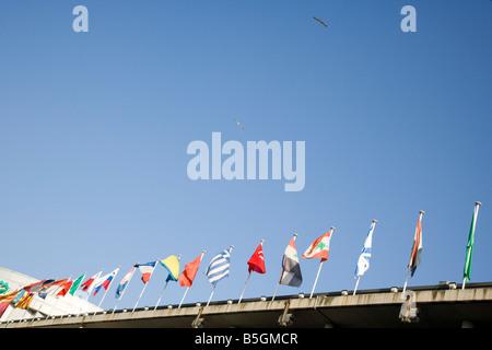 European Community flags nation flying - Stock Photo