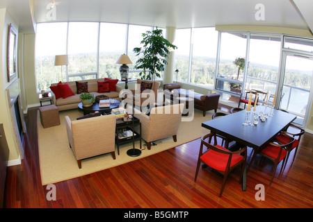 Interior shot of a luxury high rise condo. - Stock Photo