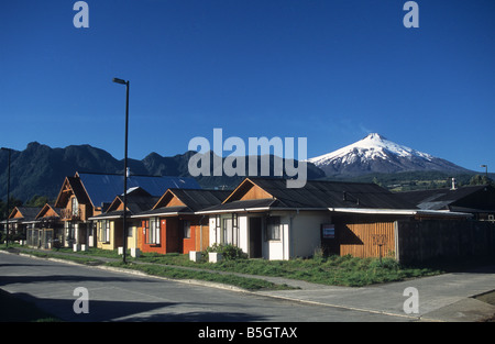 Villarrica volcano seen from Pucon, Chile - Stock Photo