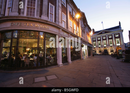 City of York, England. St Helen's Square, with the Frederick Belmont founded Betty's Café and Mansion House. - Stock Photo