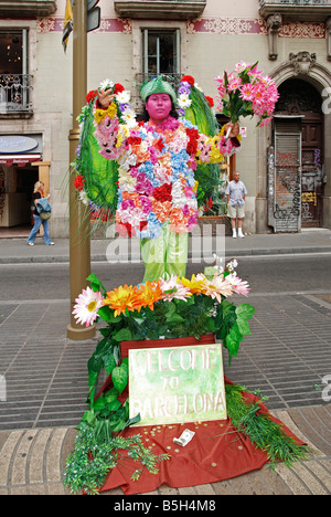 a human statue street performer on la ramble in barcelona,spain - Stock Photo