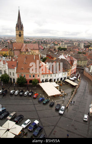 Panoramic view overlooking Piata Mica, Little Square, Evangelical Church, Sibiu, Transylvania, Romania - Stock Photo
