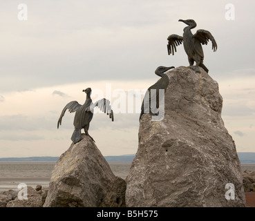 Cormorant sculpture at seaside in Morecambe,England - Stock Photo