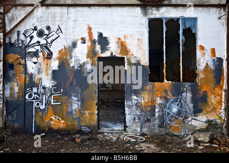 Graffiti in a brownfield site factory. Grafitti image on wall showing CCTV cameras - Stock Photo