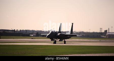 F-15 Strike Eagle E taxi's for take off at RAF Lakenheath in Suffolk England. - Stock Photo