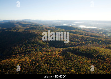 Berkshire mountains looking north to Vermont on an early morning autumn hot air balloon ride - Stock Photo