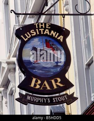 Pub sign for the Lusitania Bar, Cobh, County Cork, Eire. The Lusitania sank near Cobh. - Stock Photo