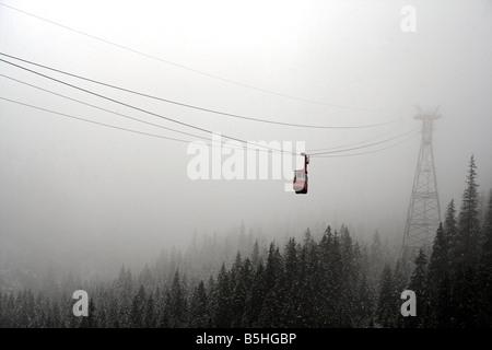 Cable car at Cabana Balea Cascada, Fagaras Mountains, Transylvania, Romania - Stock Photo