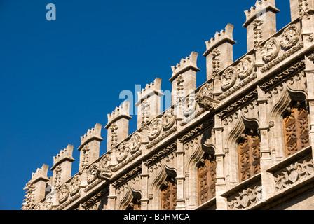 Detail of La Lonja de la Seda formally a commodity exchange in the historical city centre of Valencia Spain - Stock Photo