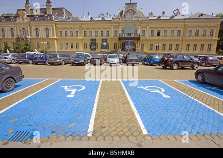 Parking spaces for disabled drivers in Batternburg Square in central Sofia the capital of Bulgaria. - Stock Photo