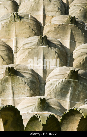 The Dunmore Pineapple, Airth, Falkirk, Scotland, UK. Close up detail of sculpted stonework - Stock Photo