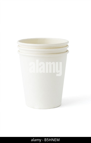 Stack of three disposable paper cups on white background - Stock Photo