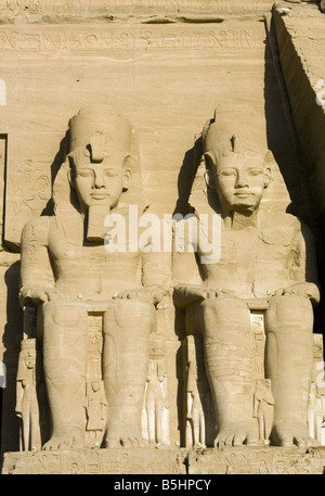 Two Statues of Rameses 11 at the Abu Simbel Temple Complex in Egypt. - Stock Photo