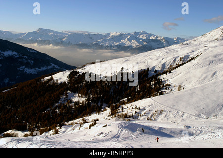 switzerland valais val d'anniviers st luc view of the ski area - Stock Photo