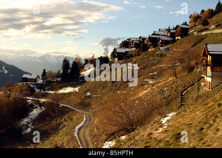 switzerland valais val d'anniviers st luc view of the village at sunset - Stock Photo