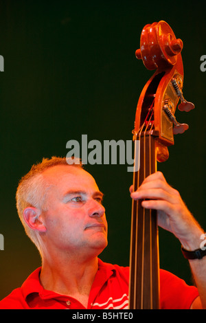 Ali Friend of the band Red Snapper playing at Lewisham Summer Festival. - Stock Photo