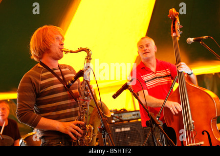 Ali Friend and Tom Challenger of the band Red Snapper playing at Lewisham Summer Festival. - Stock Photo