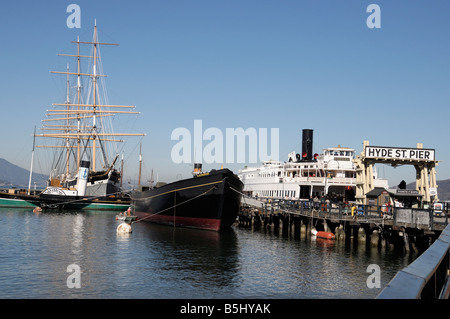 Hyde Street Pier & maritime museum, San Francisco's Fisherman's Wharf area attraction - Stock Photo