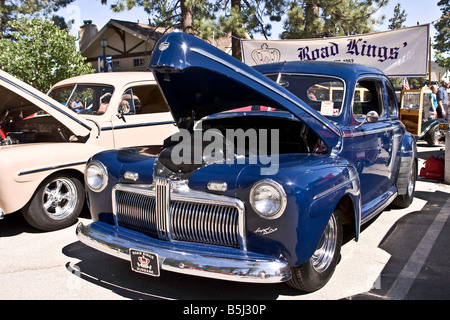 Blue Ford V8 Super Deluxe coupe - Stock Photo