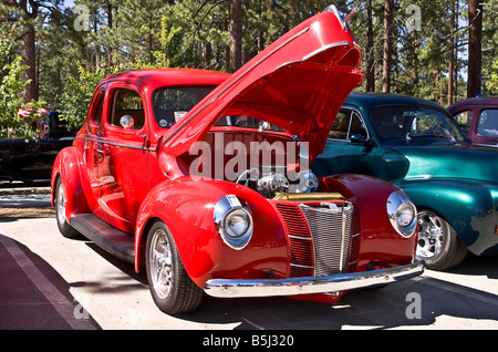 Red Ford V8 Super Deluxe Supercharged Coupe - Stock Photo