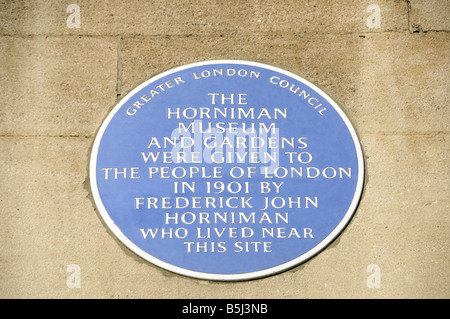 Blue plaque to John Horniman on the front of the Horniman Museum Forest Hill London England UK - Stock Photo