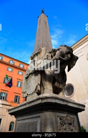 Obelisk of Santa Maria sopra Minerva in Piazza Della Minerva Rome Italy - Stock Photo