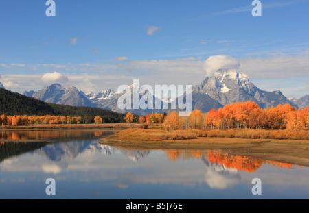 Mount Moran from Oxbow Bend. Mt. Moran is part of the Teton Range in Grand Teton National Park, Wyomimg, USA
