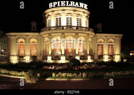 Nachtaufnahme vom Spielcasino im Kursaalgebaeude des Staatsbades Bad Ems im Lahntal, Rheinland-Pfalz - Stock Photo