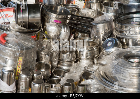 Metal Indian kitchenware for sale india - Stock Photo