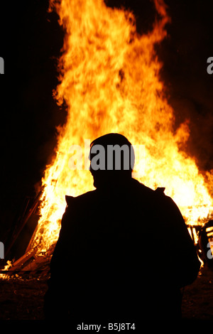 """Man Silhouetted"" against Bonfire flames - Stock Photo"