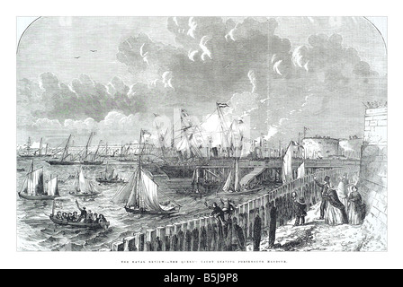 The naval review the queen's yacht leaving Portsmouth harbour May 10 1856 The Illustrated London News Page 517 - Stock Photo