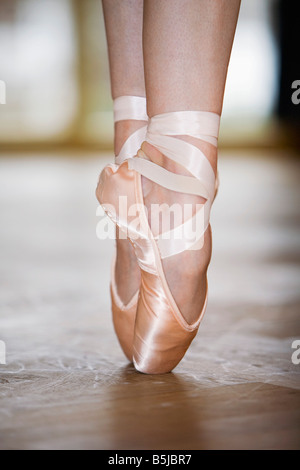 close-up of ballet dancer on tiptoes - Stock Photo