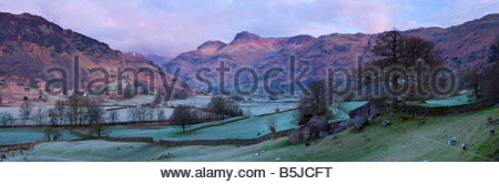 Panoramic view of the Langdale Pikes at sunrise, Langdale Valley, Lake District National Park, Cumbria, England, - Stock Photo