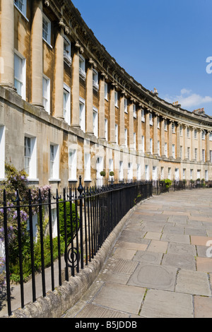 Georgian architecture in the Royal Crescent, Bath, BANES - part of the Bath World Heritage Site - Stock Photo