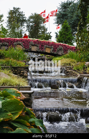 The Floral bridge in the Flower Park at the Jesperhus resort, Nykøbing, Mors, Jutland, Denmark - Stock Photo