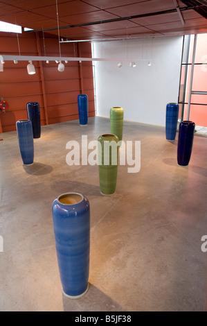 Modern art installation of porcelain pillars by Ai WeiWei called Pillars at Groninger Museum in Groningen Netherlands - Stock Photo