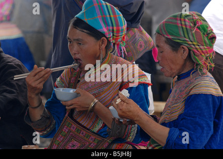 Flower Hmong  women Bac Ha Village Sapa Northern Vietnam - Stock Photo