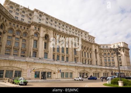 Bucharest Romania Nicholae Ceausescu's House of the People Casa Poporului Romanian Parliament and Senate building - Stock Photo