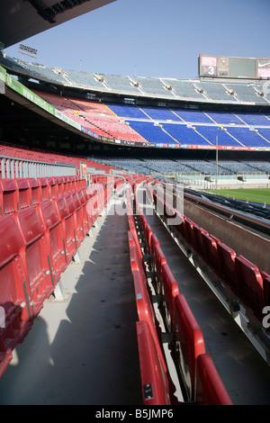 Nou Camp, Barcelona Catalonia Spain seats at the pitch side - Stock Photo