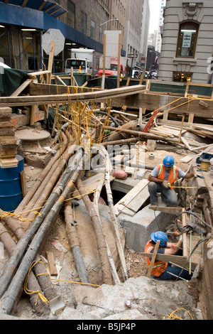 Replacing old infrastructure in crowded urban areas like New York City is very expensive and a highly time consuming - Stock Photo
