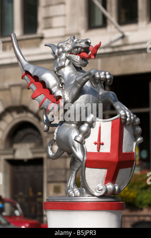 Griffin statue marking the boundary of the City of London, England UK - Stock Photo