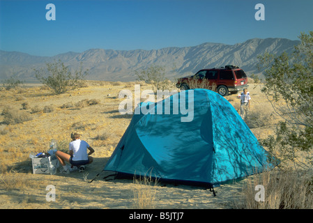 Campsite at Fonts Point with Santa Rosa Mts in distance at Anza Borrego Desert State Park California USA - Stock Photo