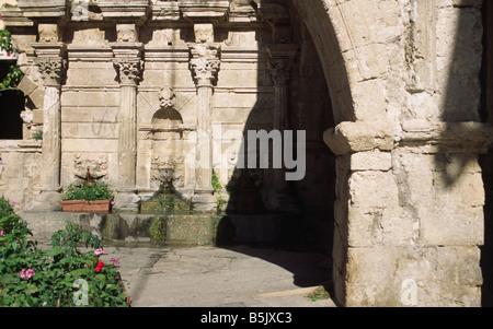 Rimondi fountain in Rethimnon Crete Greece - Stock Photo