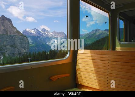 mountain view from the Jungfraubahn train near Interlaken Switzerland - Stock Photo