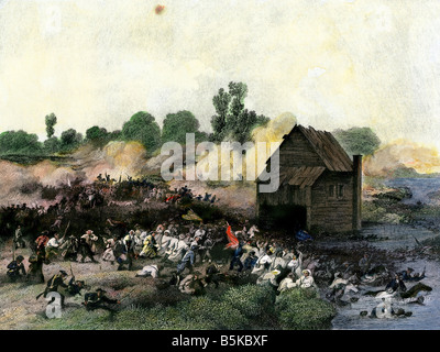 Retreat of American army from Long Island after defeat by the British 1776. Hand-colored engraving